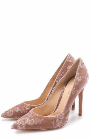Бархатные туфли Gianvito 105 с вышивкой на шпильке Rossi. Цвет: розовый