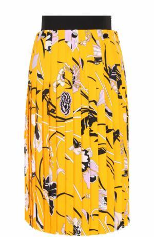 Плиссированная юбка-миди с принтом Emilio Pucci. Цвет: желтый