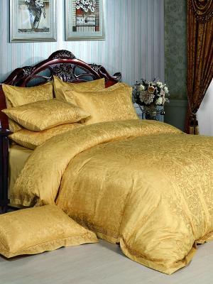 Постельное белье евро, жаккард. сатин, 2 нав. 50х70, вышивка, золотой Asabella. Цвет: желтый