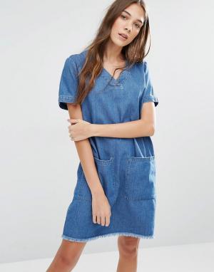 Hilfiger Denim Платье-туника с необработанным краем и большими карманами Den. Цвет: синий