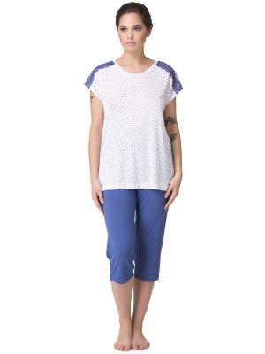 Комплект женский: футболка-бриджи PRIMAVERINA. Цвет: синий, белый