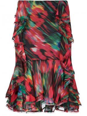 Асимметричная юбка с рюшами Jason Wu. Цвет: многоцветный
