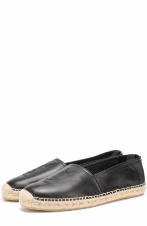 Кожаные эспадрильи с логотипом бренда Saint Laurent. Цвет: черный