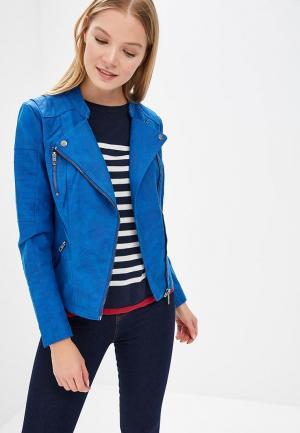 Куртка кожаная Only. Цвет: синий