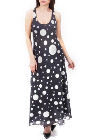 Элегантное платье в горох EUROPEAN CULTURE. Цвет: темно-синий
