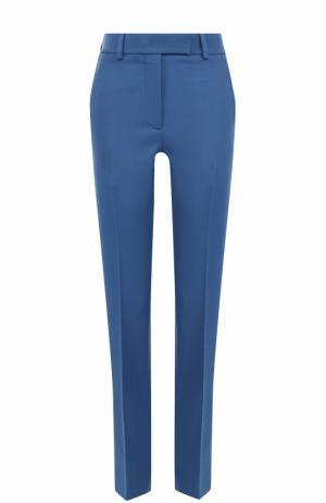 Шерстяные брюки с контрастными лампасами и стрелками CALVIN KLEIN 205W39NYC. Цвет: синий