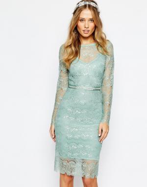 Body Frock Свадебное платье мятного цвета с отделкой на поясе. Цвет: зеленый