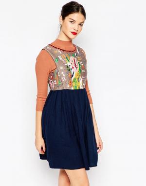 Manoush Платье с пестрым принтом. Цвет: marine