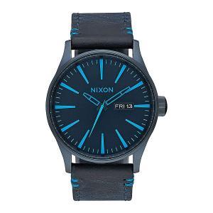 Кварцевые часы  Sentry Leather All Dark Bluee Nixon. Цвет: голубой,синий