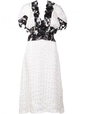 Платье с кружевными панелями Rodarte. Цвет: белый