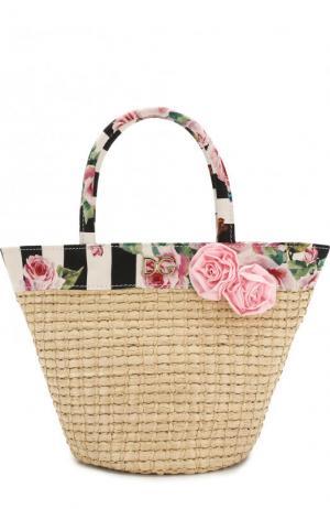 Соломенная сумка с текстильной отделкой Dolce & Gabbana. Цвет: черно-белый