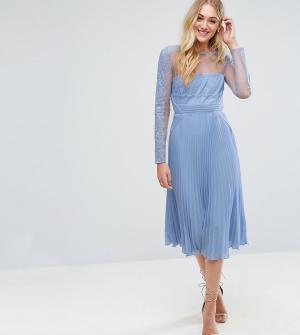 ASOS Tall Платье миди с кружевом на лифе и плиссированной юбкой. Цвет: фиолетовый