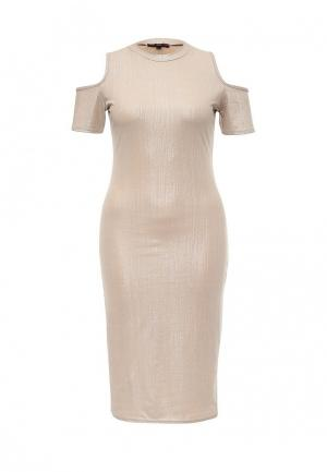 Платье Missi London. Цвет: бежевый