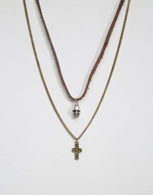 Icon Brand Набор ожерелий с черепом и крестом. Цвет: серебряный