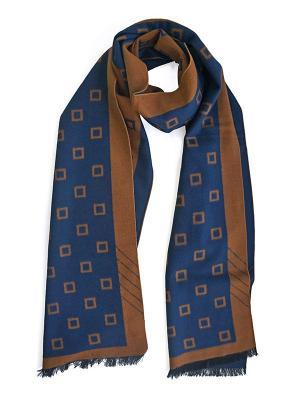 Мужской шарф LANYINGDI ША-03 30*180 100% шелк. Цвет: синий, рыжий