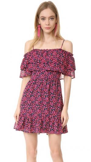 Платье Daria с открытыми плечами и оборками WAYF. Цвет: мелкий цветочный принт цвета ягод