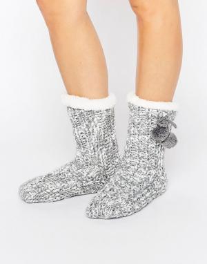 Loungeable Меланжевые вязаные носки с помпонами. Цвет: серый