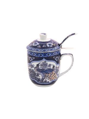 Кружка с металлическим ситом Павлин синий Elan Gallery. Цвет: белый, синий