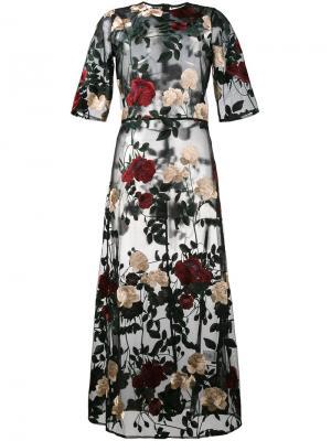 Платье Simmons с цветочной вышивкой Ganni. Цвет: чёрный