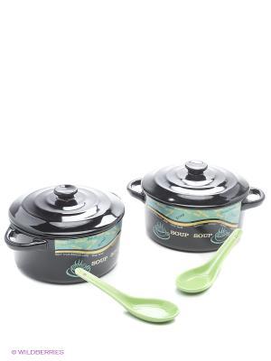 Набор кер.кастрюль с ложкой 2х800мл LORAINE. Цвет: черный, зеленый