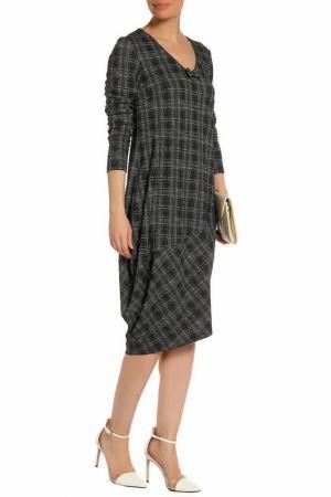 Длинное повседневное платье Adzhedo. Цвет: черно-серая клетка