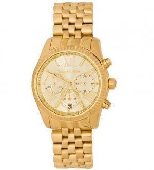 Золотистые часы круглой формы с хронографом Michael Kors
