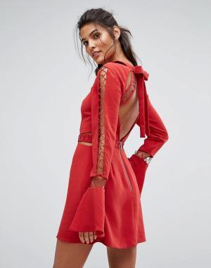 Finders Keepers Платье с отделкой и открытой спиной Borderlines. Цвет: оранжевый