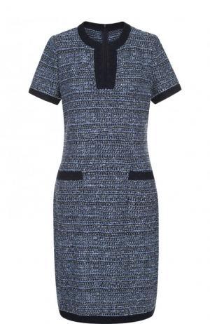 Приталенное буклированное платье-миди St. John. Цвет: темно-синий