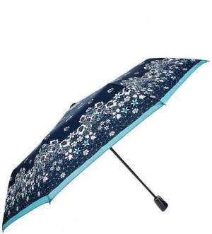 Синий зонт с прорезиненной ручкой Doppler. Цвет: цветочный принт