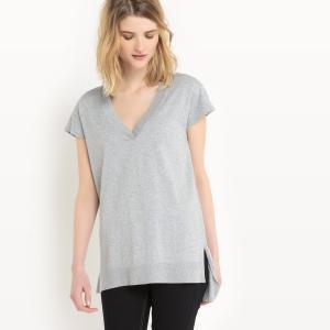 Пуловер с короткими рукавами из хлопка и шелка La Redoute Collections. Цвет: светло-розовый,серый меланж,слоновая кость