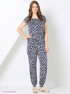 Комплект: блузка, брюки Milana Style. Цвет: синий