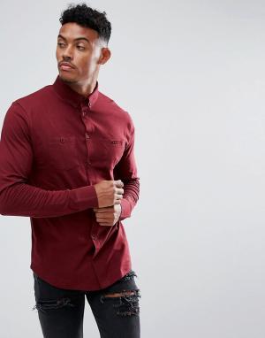 BoohooMAN Бордовая трикотажная рубашка с двумя карманами. Цвет: красный