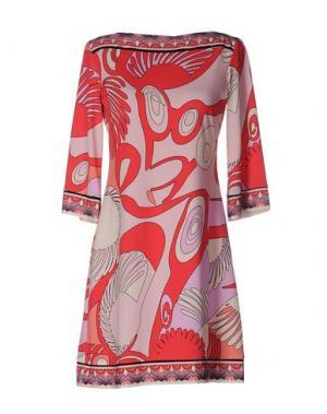 Короткое платье ALI RO. Цвет: коралловый