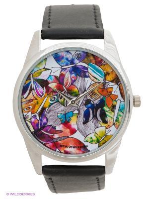 Часы Mitya Veselkov Акварельные бабочки. Цвет: черный