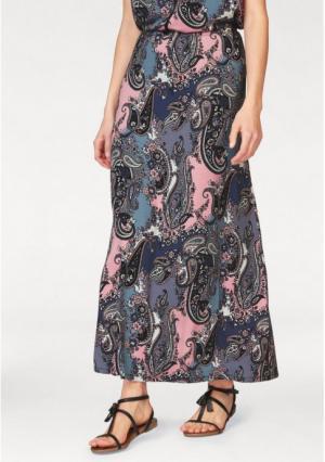 Юбка макси BOYSENS BOYSEN'S. Цвет: розовый/синий с рисунком, черный