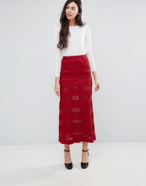 Endless Rose Кружевная юбка макси. Цвет: красный
