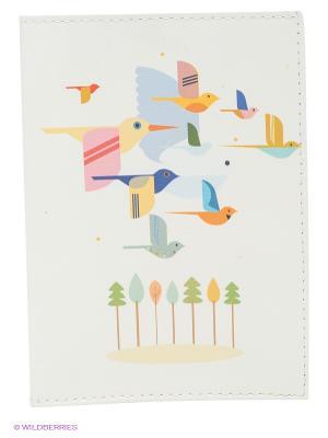 Обложка для паспорта Птицы на светло-розовом Mitya Veselkov. Цвет: белый