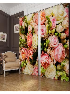 Фотошторы Букет француских роз, Блэкаут Сирень. Цвет: розовый, желтый, зеленый, бежевый
