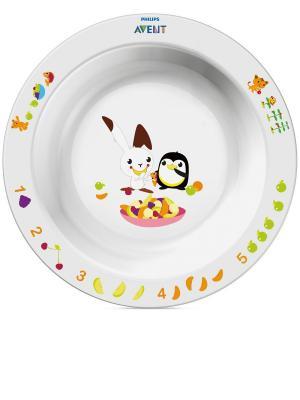 Большая детская тарелка Philips Avent SCF704/00, 12 мес.+. Цвет: белый, красный