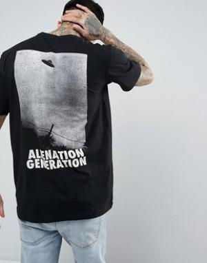Antioch Футболка с большим принтом на спине Alien Generation. Цвет: черный