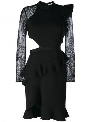 Lace sleeves pleated trim dress Self-Portrait. Цвет: чёрный