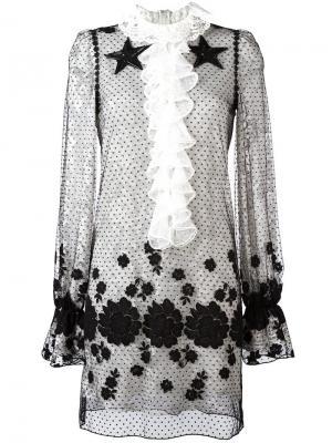 Прозрачное платье с вышивкой Giamba. Цвет: чёрный