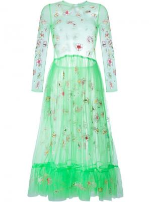 Floral Embroidered Tulle Dress Molly Goddard. Цвет: зелёный