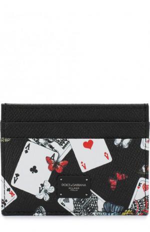 Кожаный футляр для кредитных карт с принтом Dolce & Gabbana. Цвет: черно-белый