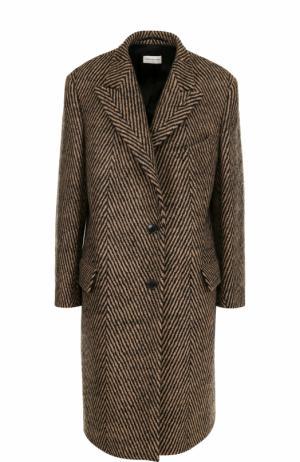 Шерстяное пальто прямого кроя Dries Van Noten. Цвет: бежевый