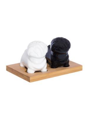 Набор для специй Мопсы черно - белые Elan Gallery. Цвет: черный, белый, коричневый