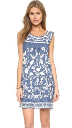 Платье без рукавов с вышивкой Sea. Цвет: деним шамбре