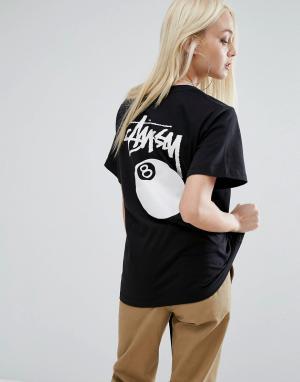 Stussy Oversize-футболка с логотипом и 8 шаром. Цвет: черный