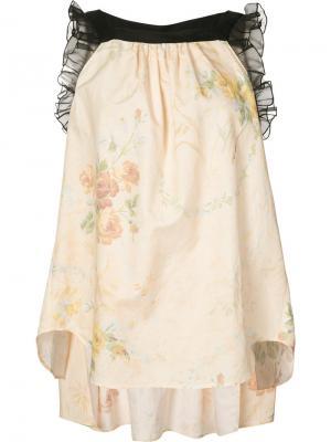 Блузка с цветочным принтом Veronique Branquinho. Цвет: телесный