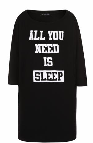 Удлиненная футболка прямого кроя с контрастной надписью Pietro Brunelli. Цвет: черный